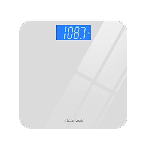 New Innotech® Digital Bathroom Scale with Easy-to-Read Backlit LCD (White)