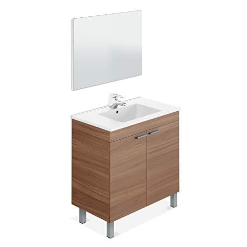 ARKITMOBEL Mueble de Baño con 2 Puertas y Espejo, Modulo Baño, Modelo LC, Acabado en Nogal, Medidas: 80 cm (Ancho) x 80 cm (Alto) x 45 cm (Fondo)