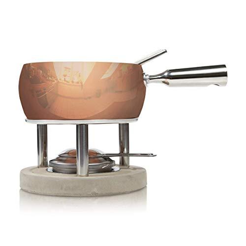 BOSKA 340040 Set à Fondue en cuivre/béton/Acier Inoxydable, Argent/Gris/Rouge, 29 x 21 x 20 cm