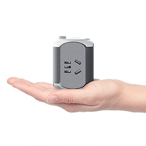 Regletas Eléctricas Cuadrado con Enchufe Vertical USB multifunción con Placa de cableado de Placa de Enchufe de múltiples Orificios de regleta de alimentación de línea Larga,Gray,1.8M