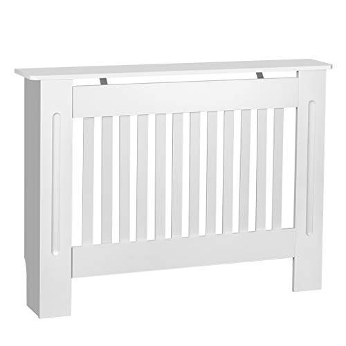 Cubierta de radiador de armario, pintada a mano, diseño moderno de densidad media, color blanco MDF, Blanco, Medium