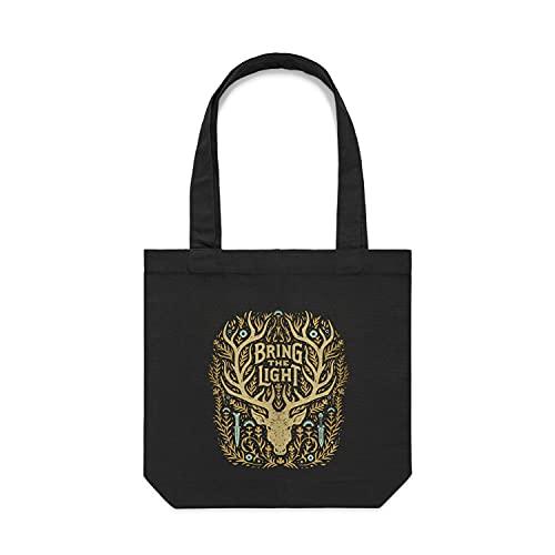 Shadow and Bone Netflix Serie | Bring The Light Tote Bag | Offizielles Netflix Serie Merchandise | Schwarze Tragetasche mit Serien-Grafiken