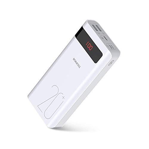 Romoss Power Bank 20000mAh, 18W PD USB-C Ladegerät mit LED, Externe Akkus 3 Ausgänge und 3 Eingänge, Kompatibel für Handys, iPhone, iPad, Samsung, Nintendo Switch, GoPros und andere USB-Geräte