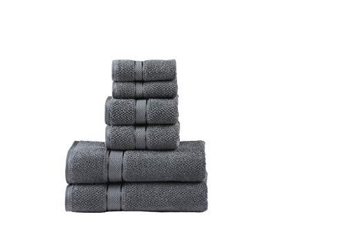 Senses Textured Rice Weave 6 pc Bathroom Towel Set, All Cotton 550 GSM (Charcoal Color)