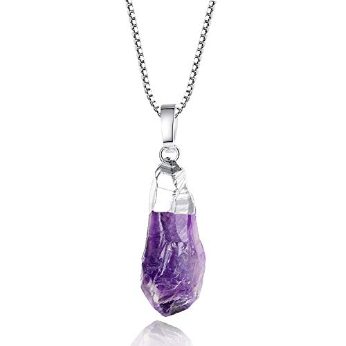 coai 925 Sterling Silver Raw Crystal Amethyst Pendant Necklace for Women Girls