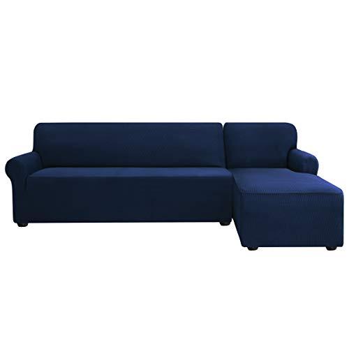 Subrtex - Copridivano a L, elasticizzato, ad angolo, tessuto morbido ed elasticizzato, antiscivolo, lavabile, Blu scuro, Rechts 2 Sitzer