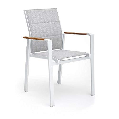 POLTRONA BEVERLY Bianca in alluminio impilabile con polywood 56x65xH87 cm