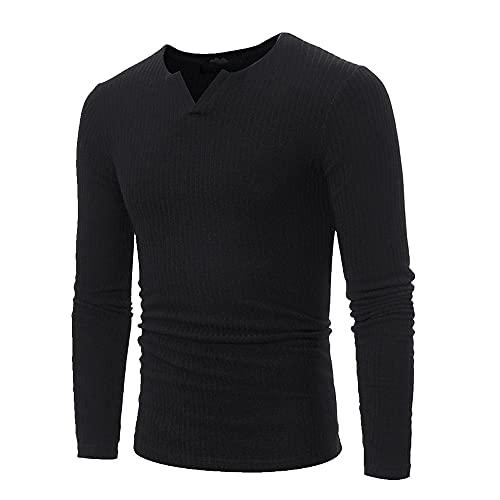 Hombres Otoño Invierno Casual V-cuello Colores Sólidos Ajuste Delgado Cómodo Suéteres Pullovers Tops Plus Size