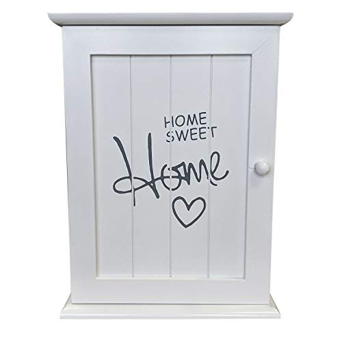 Wohaga® Schlüsselschrank Schlüsselkasten 'Home Sweet Home' 22x29x8cm mit 6 Schlüsselhaken Schlüsselbox Schlüsselbrett Schlüsselboard Wandschrank - Weiß