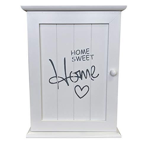 Armadietto portachiavi 'Home Sweet Home' 22x29x8cm con 6 ganci portachiavi - bianco
