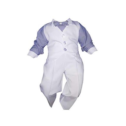 Completino per bambini, per battesimo, matrimoni, feste, 4 pezzi, bianco/blu bianco-blu 3 mesi