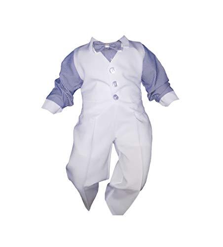 Taufanzug Baby Junge Kinder Hochzeit Anzüge Festanzug, 4tlg , Weiß-Blau K5A Größe 86