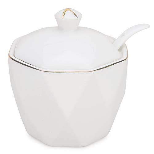 Zuckerdose, Chase Chic Keramik-Zuckerrohr mit Deckel und Löffel mit Goldener Verzierung und Vintage-Raute, für Kaffeebar, Küche und Frühstück zu Hause, 350ml (11.8oz), Weiß