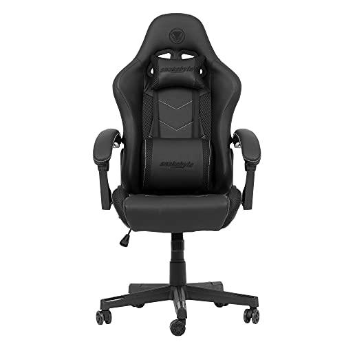Snakebyte Gaming Seat EVO - schwarz/weiß - Gaming Stuhl mit extra gepolsterte Armlehnen, Einstellbarer Neigungswinkel, höhenverstellbarer Schreibtischstuhl, Ergonomischer Stuhl, Chefsessel, Bürostuhl