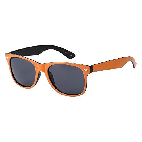 Kinder-Sonnenbrille für Mädchen und Jungen, klassischer Stil, mit UV-Schutz 400, Orange / Schwarz