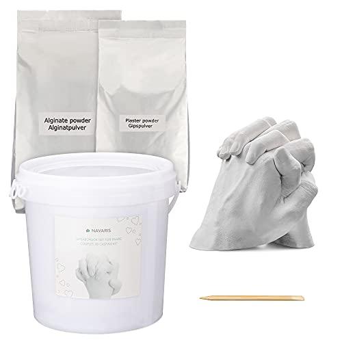 Navaris Kit 3D para moldes de Manos y pies - Molde de Yeso alginato para Mano y pie para Familia Adultos niños - para 2 Manos de Adulto y 1 de niño