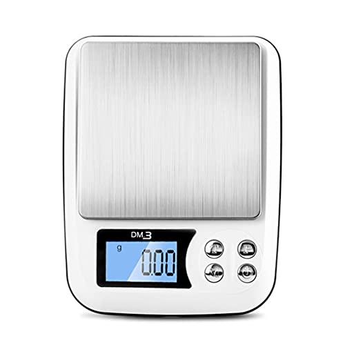 DEF Escala de Cocina Digital Escala de Alimentos de Alta precisión Escala de joyería con Pantalla LCD retroiluminada, cocinar y Hornear Herramientas de pesaje (Specification : 2kg/0.1)