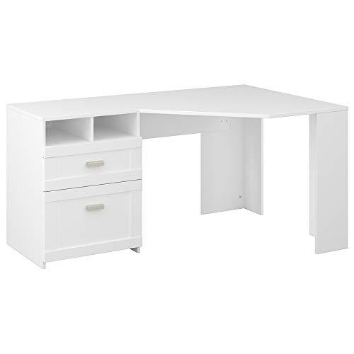 Bush Furniture Wheaton Reversible Corner Desk with Storage, 60W, Pure White