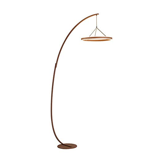 KAISIMYS Lámpara de pie Moderna LED, luz de Suelo de Arco Regulable con Control Remoto, lámpara de pie de Lectura de Hierro Forjado para Sala de Estar, Dormitorio, 3 temperaturas de Color, marrón, 34