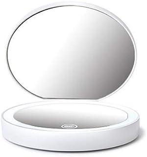 مرايا مكياج - 3 ألوان قابلة للطي مزودة بإضاءة LED، مرآة مكياج بإضاءة LED، مرآة مكبرة مزدوجة الوجه دائرية عالية الجودة مزود...