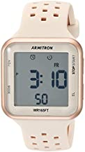 Armitron Sport Unisex 40/8417PBH Digital Chronograph Rose Gold-Tone and Blush Pink Perforated Silicone Strap Watch