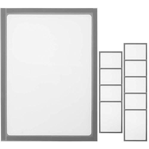 PrimeMatik - Pochette magnétique d'affichage Document en Format A4 avec Cadre Flexible Gris 10-Pack