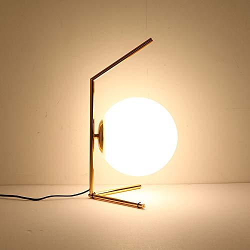 LHE Lámpara Escritorio,Lámpara de Lectura de Hierro Simple, Temperatura de 3 Colores Y Atenuación Continua, Soporte de Lámpara E27, con Pantalla de Vidrio, Adecuado para Estudio y Oficina,B