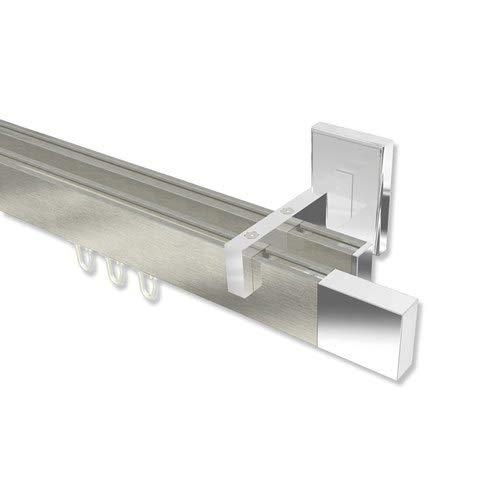 INTERDECO Innenlauf-Gardinenstange eckig Edelstahl Optik/Chrom zweiläufig Smartline Lox, 160 cm