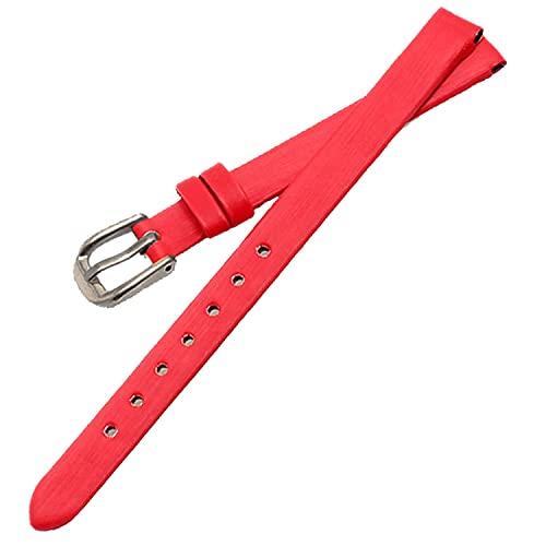 Chtom 6mm 8mm 10 mm seda de cuero satinado mujer mujer reloj bandas de correa 8 colores (Color : Red, Size : 6mm)