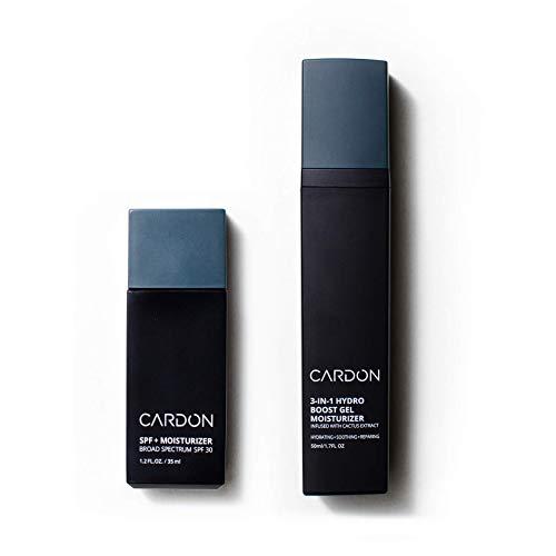 Cardon Men's AM + PM Face Moisturizers Bundle: Daytime SPF Moisturizer; Nighttime Repair Gel Moisturizer   Korean Skincare For Men