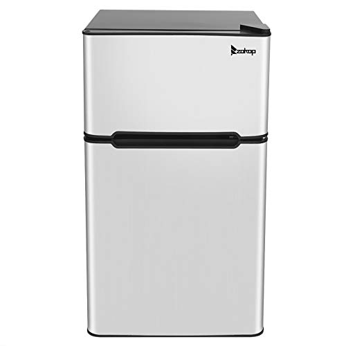 ZOKOP 3.2 Cubic Double Door Compact Refrigerator,Adjustable Mechanical Thermostat with True Freezer,2 Removable Glass Shelf,1 Crystal Crisper,Stainless Steel-Silver A