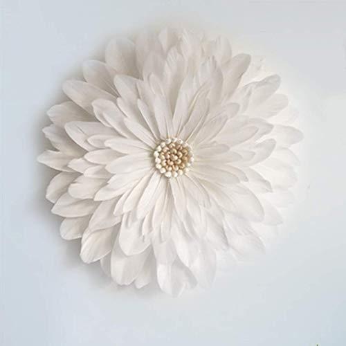 FHQCU Espejo Colgante de Pared con Pluma, decoración de Espejo de Pared de Macrame Redondo Redondo Hecho a Mano de Boho para el Pasillo del Dormitorio de la Sala, White_35cm