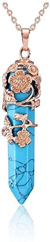 HUIQ Rose Oro Flor Envuelta Punto de Piedra de Piedra de Piedra de Piedra Natural Curación Natural Piedra Colgante Colgante Collar para Mujeres-Turquesa Azul sintética