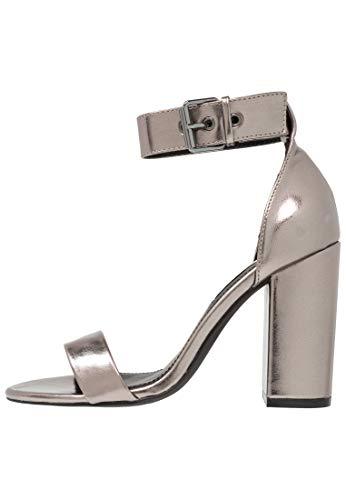 Even&Odd Sandalias de Tacón Alto para Mujer - Tacones de Tiras Gruesas - Elegantes Zapatos de Tacón - Sandalias Metálicas con Tacón de Bloque