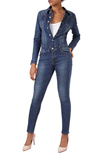 EGOMAXX Damen Jeans Overall Jumpsuit Skinny Fit Hosenanzug Einteiler, Farben:Blau, Größe:40