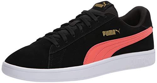 PUMA Smash V2 Sneaker, Blackhot Coral Team Gold White, 11 M US