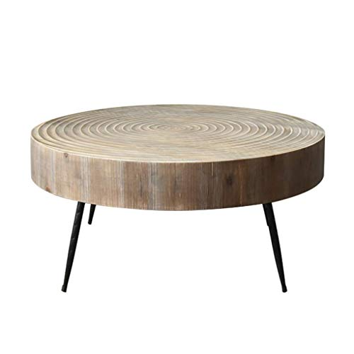 Petite Table Basse Ronde Tea Years Combinaison Ronde Petite Table Salon Salon Fer Canapé Angle Table De Coin Rangement pour la Cuisine (Color : Brown, Size : 80 * 80 * 36 cm)