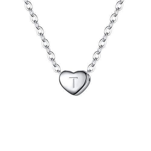 Clearine Damen Choker Halskette 925 Sterling Silber mit Buchstabe A-Z kleine Initial Herz Anhänger Kette Halsband Buchstabe T Klar Silber-Ton