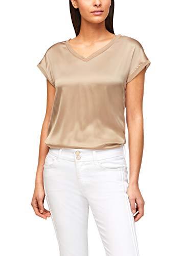 s.Oliver BLACK LABEL Damen Jerseyshirt mit Front aus Seide beige 46