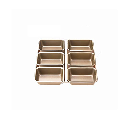 JSBHS Rectangular 6-piece Mold Baking Baking Sheet Carbon Steel Is Not Easy To Stick Mold (Color : Gold)