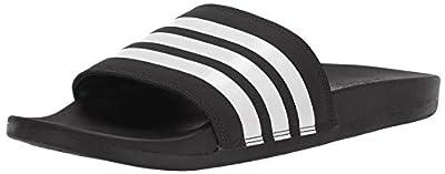 adidas Men's Adilette Comfort Slide, Black/White/Black, 9 M US