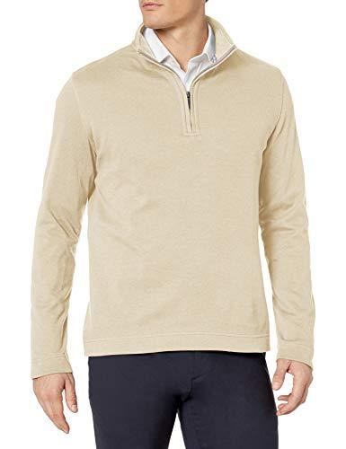 Geoffrey Beene Men's Long Sleeve Stretch Twill 1/4 Zip Pullover, Pelican, Large