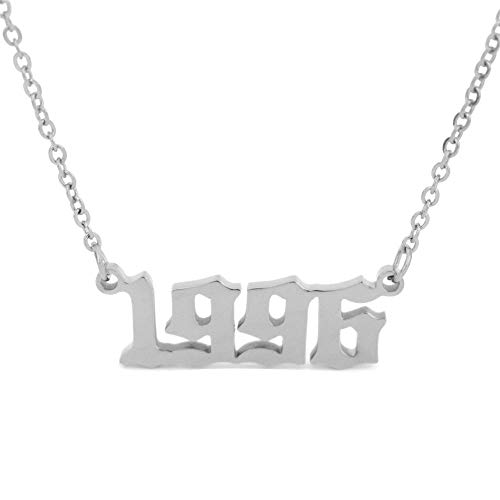 HUTINICE Birth Year Number Necklace, Old English Silver Pendant Necklace for Women and Girl Birthday Gift 18 inch Gold Chain Stainless Steel Friendship Jewelry (Silver Color, 1996)