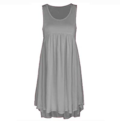 Muranba Womens Dresses O Neck Casual Lace Sleeveless Above Knee Dress Loose Party Mini Dress