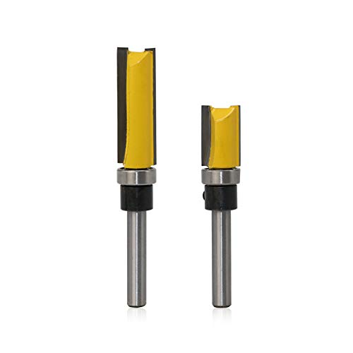 Gwotfy Plantilla Router Bits Set 2pcs, 2-Flute Carbide Tipped Router Bit with Upper Ball Bearing, 1/4-Inch Shank, Amarillo Dos tamaños
