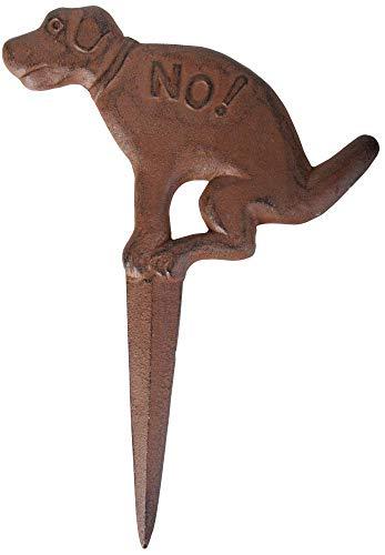 Esschert Design Steckschild, Verbotsschild für Hunde No, in antik-braun aus Gusseisen, ca. 24 cm x 33 cm