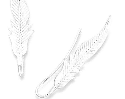 925 Sterling Silver Feather Sweep Up Ear Crawler Earrings