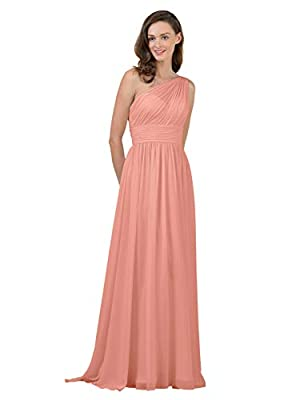 Alicepub One Shoulder Bridesmaid Dress Chiffon Long Maxi Formal Dresses for Women Party, Ballet Pink, US0