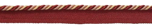 Small RED, LIGHT ROSE Baroque Collection 5mm Cord with Lip Style# 0316BL Color: ROSE BOUQUET - 7953 (Sold by the Yard - 91cm / 3 Ft / 36\