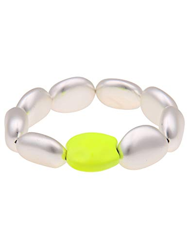 Leslii Damen-Armband Armreif Neon Statement-Armband Disco 90er-Party Modeschmuck-Armband 19cm Silber Neon-Gelb